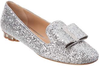 Salvatore Ferragamo Sciacca Flower Heel Glitter Slipper