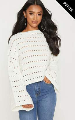 PrettyLittleThing Petite Cream Flared Sleeve Jumper