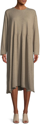 eskandar Crewneck Long-Sleeve A-Line Cashmere Dress