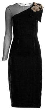 Sachin + Babi BaliAsymetric Velvet Sheath Dress