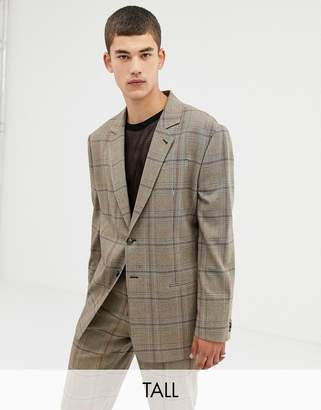 Collusion COLLUSION Tall oversized suit jacket in brown window pane check