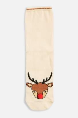 Topshop Christmas Reindeer Toe Socks