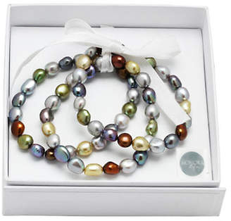 Honora STYLE Three-Piece Black Freshwater Pearl Stacked Bracelets