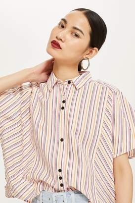 Topshop Striped Short Sleeve Shirt