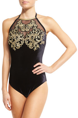 Gottex Velvet High-Neck One-Piece Swimsuit $438 thestylecure.com