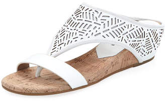 Donald J Pliner Darin Laser-Cut Demi-Wedge Sandal, White