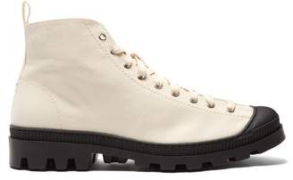 Loewe Canvas Lace Up Boots - Mens - White Black