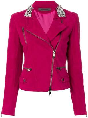 Simonetta Ravizza embellished collar leather biker jacket