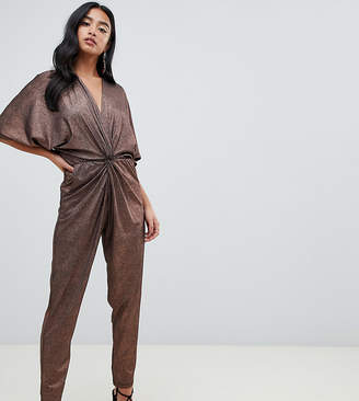 John Zack Petite knot front jumpsuit in copper