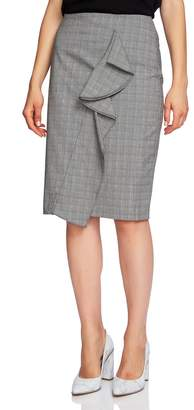 1 STATE 1.STATE Ruffle Glen Plaid Pencil Skirt