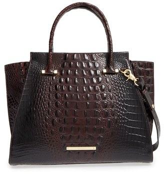 Brahmin 'Priscilla' Croc Embossed Leather Satchel - Brown $385 thestylecure.com