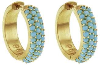 Jennifer Meyer Turquoise Wide Huggie Hoop Earrings - Yellow Gold