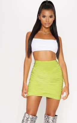 PrettyLittleThing Mustard Ruched Layered Slinky Mini Skirt