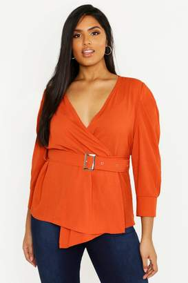 boohoo Plus Wrap Belted Woven Top