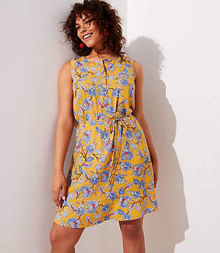 LOFT Plus Summer Blossom Sleeveless Shirtdress