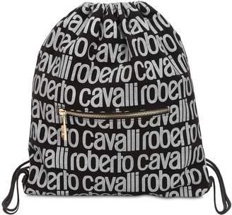 Roberto Cavalli Logo Print Gabardine Drawstring Backpack