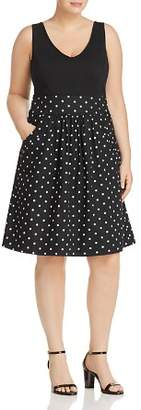City Chic Plus Simply Sweet Dotted Combo Dress