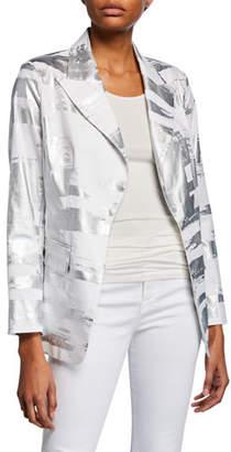 Berek Plus Size Notched Collar Foil Blazer