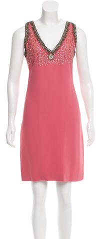 Miu Miu Miu Miu Embellished Knee-Length Dress