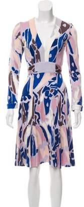 Issa Printed Knee-Length Dress Blue Printed Knee-Length Dress