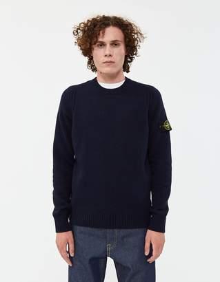 Stone Island Lambswool Knit Sweater in Navy Blue