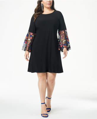 MSK Plus Size Embroidered-Sleeve Fit & Flare Dress