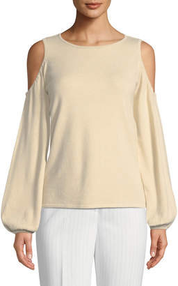 Tahari ASL Christopher Cold-Shoulder Blouson-Sleeve Sweater