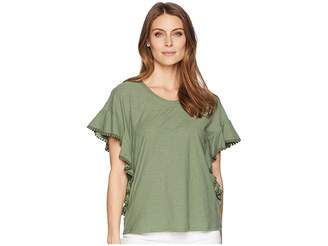 Vince Camuto Drop Shoulder Ruffle Sleeve Top w/ Dot Trim