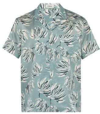8f906c5b COMMAS Banana Leaf Print Short Sleeved Silk Blend Shirt - Mens - Light Blue