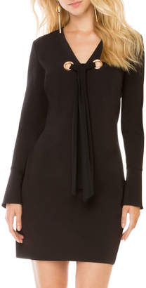 Donna Morgan Grommet-Tie Long-Sleeve Shift Dress, Navy