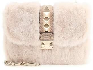 Valentino Lock Small snakeskin and mink fur shoulder bag