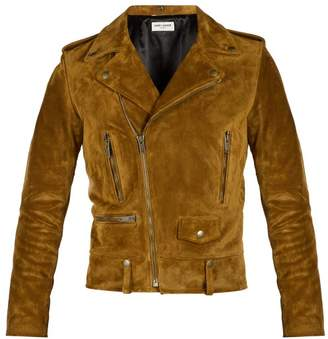 Saint Laurent Suede Biker Jacket - Mens - Tan