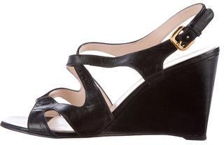 pradaPrada Leather Wedge Sandals