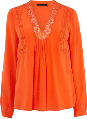 Karen Millen Embroidered Silk Blouse