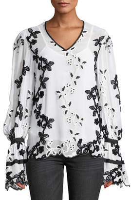 6eb83580a3 Josie Natori V-Neck Dramatic Long-Sleeve Embroidered Top