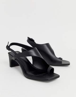 844b8c6d3f89 Asos Design DESIGN Hercules premium leather toe loop block heeled sandals