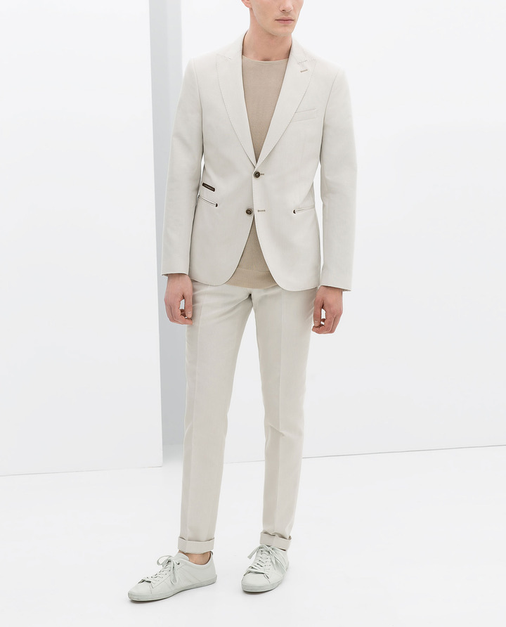 Zara Beige Structured Shirt With Contrasting Piping
