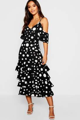 boohoo Petite Large Spot Ruffle Hem Midi Dress