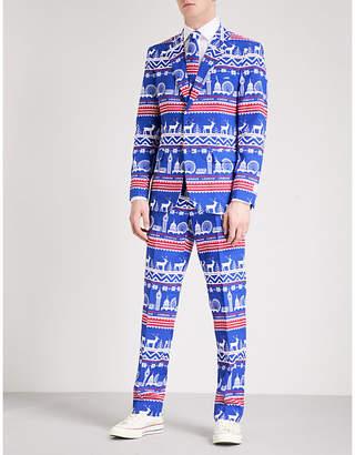 Opposuits Mens Blue Exclusive Regular-Fit Woven Suit