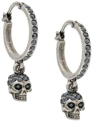 Alexander McQueen crystal embellished skull pendant hoops