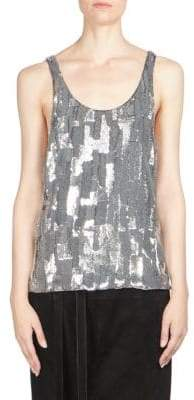 Saint Laurent Silk Sequin Tank Top