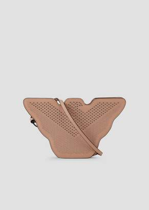 Emporio Armani Small, Eagle-Shaped Bag In Metal Leather With Studs