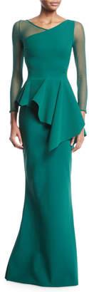 Chiara Boni Chayon Illusion-Sleeve Asymmetric Peplum Gown