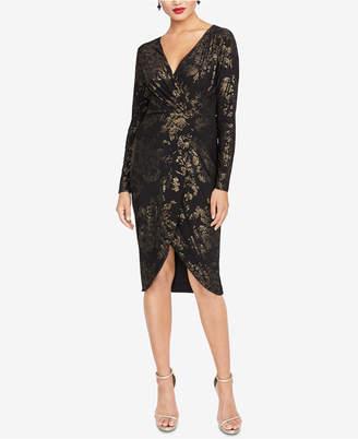 Rachel Roy Metallic-Print Faux-Wrap Dress