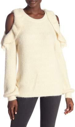 Very J Cold Shoulder Fuzzy Knit Sweater