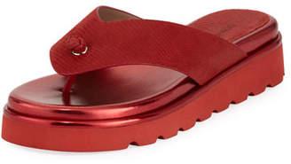 Donald J Pliner Lenore Lizard-Embossed Comfort Sandal