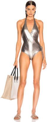 Adriana Degreas Cross Front Halterneck Swimsuit in Silver | FWRD