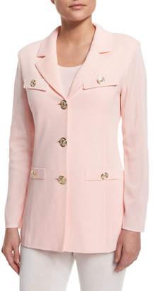 Misook Dressed Up Button-Front Jacket, Black