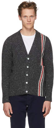 Thom Browne Grey Classic V-Neck Stripe Cardigan