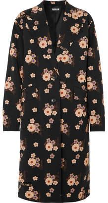 Miu Miu Floral-print Wool And Mohair-blend Coat - Black